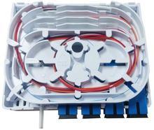 ODN FTTH 4 แกนเส้นใยกล่องเชื่อมต่อ 4 พอร์ต 4 ช่องเส้นใยซ็อกเก็ต Splitter กล่องในร่มกลางแจ้ง