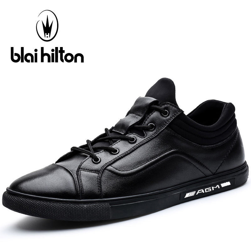 Blaibilton Black Skateboard Shoes For Men Summer Breathable Men's Sneakers Light Weight Genuine Leather Sport Shoes Man Brand
