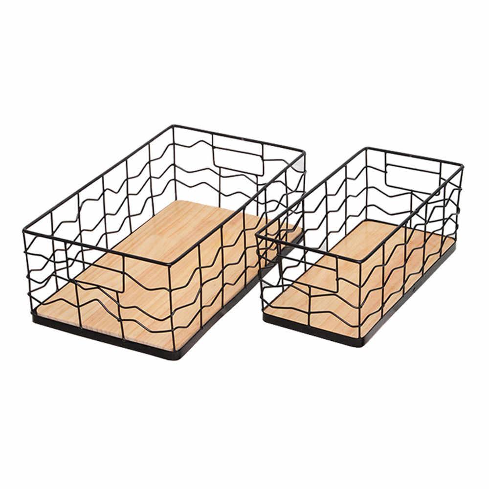 Oval Cesta de Armazenamento De Metal com Fundo De Madeira Organizador de Escritório Grade Irregular Quadro Brinquedos Multifuncionais Livro Cesta Retângulo