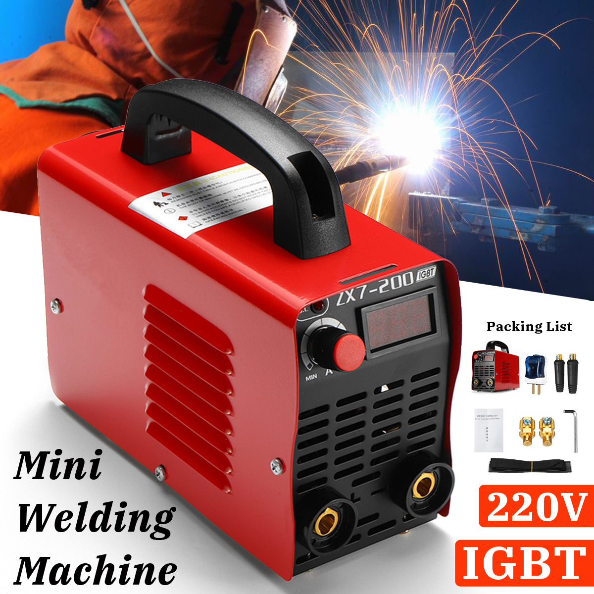 220V 10-200A 4000W Handheld Mini MMA IGBT Inverter Mini Electric ARC Welding Welder-Machine Tool