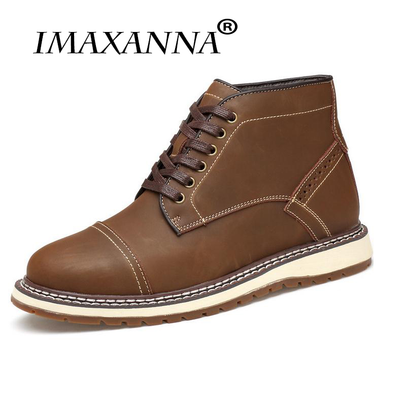 IMAXANNA Leather Men Boots Autumn Winter Ankle Boots Fashion Footwear Lace Up Shoes Men High Quality Vintage Working Men Shoes genuine leather men boots autumn winter ankle boots fashion footwear lace up shoes men high quality vintage men shoes qy5