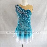 Фигурное катание платье Для женщин девочек Катание на коньках платье Комплект синего цвета без рукавов Стиль градиент юбка прекрасно воды