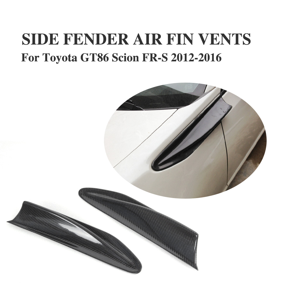 2PCS/set Carbon Fiber Side Fender Fin Trim for Subaru BRZ Toyota GT86 Scion FR-S 2012 - 2016 Air Dam Vent Decoration Stickers real carbon fiber unpainted frp car front body air side fins diffuser for subaru brz toyota gt86 ft86 zn6 dosn t fit 2017y car