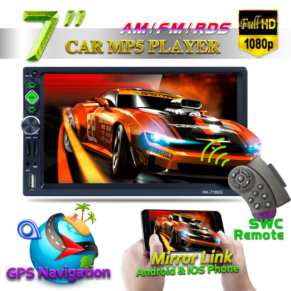 7 Double 2 Din 1080P HD Car Radio Video Stereo GPS Mirror Link for Android iOS with RDS/AM/FM Camera Free 8G Map