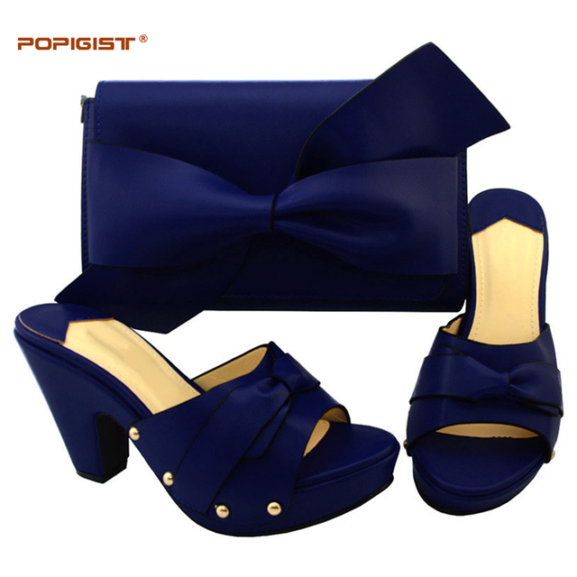 Soft Comfortable Fabric Material Dark Blue Women Shoes And Bag To