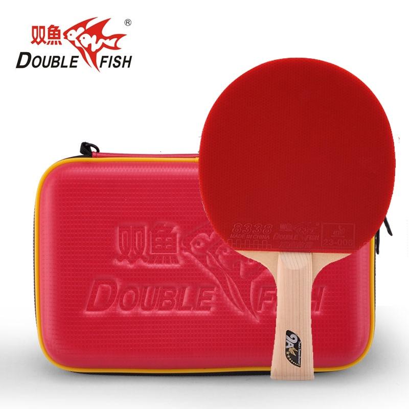 Double Poissons 9AC 7 PLIS en fiber de carbone tennis de table raquette paddle boucle rapide attaque offensive poignée horizontale avec PU dur cas sac