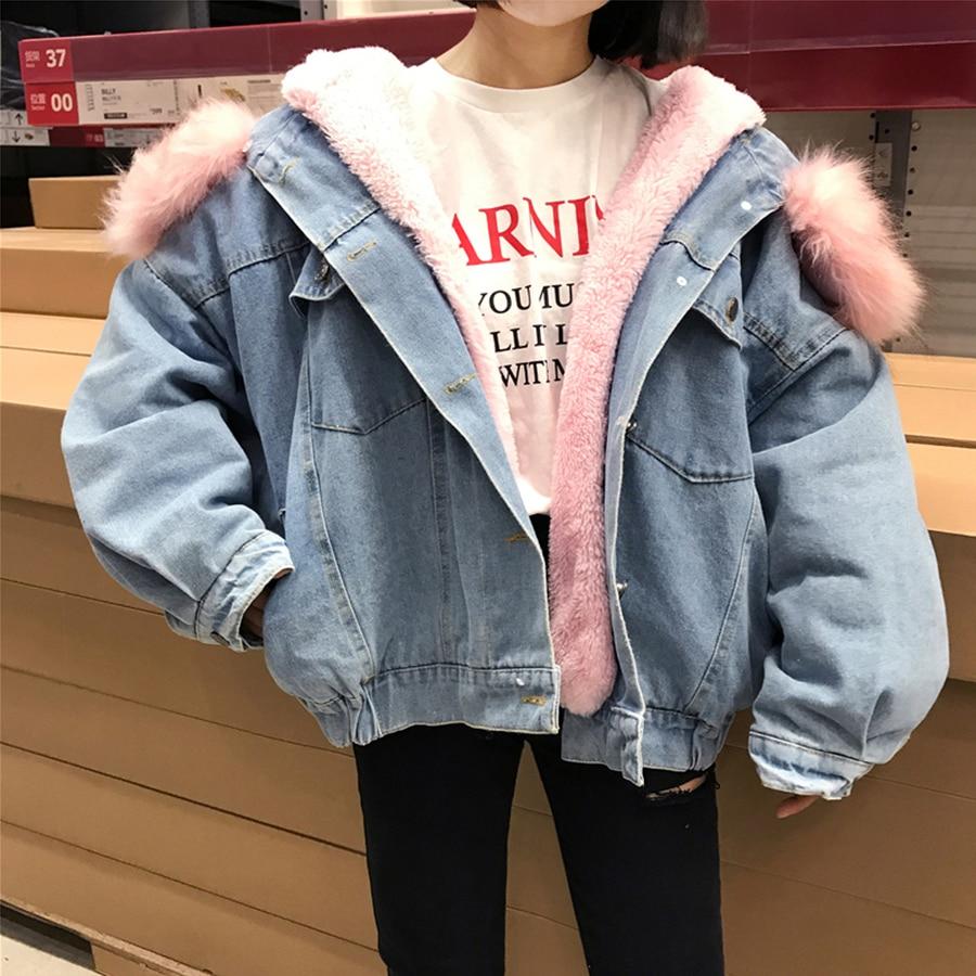 117c72144eb Women Thicken Coat Denim Jackets Plus Velvet Hooded Loose Full Vintage  Large Fur Collar Womens Outerwear Female Winter New 2018