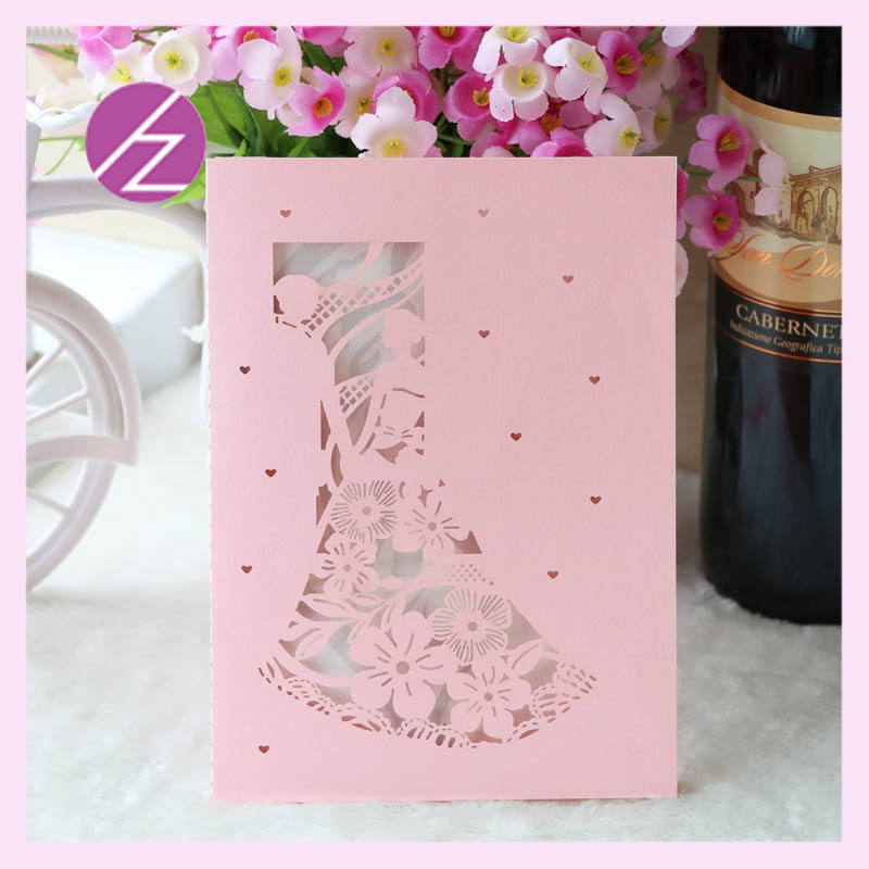 Price For Wedding Invitations: 50pcs Hot Sale Love Flower Two People Romantic Laser Cut
