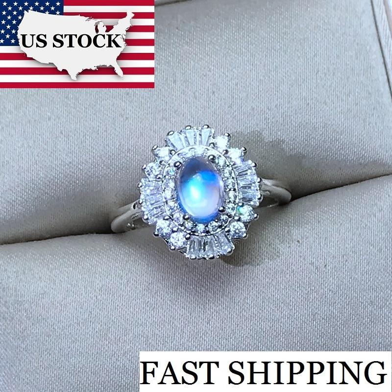US STOCK Uloveido Women 925 Silver Natural Moonstone Ring 5 7mm Gemstone Promise Ring Wedding Jewelry
