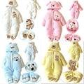 Otoño Invierno del bebé de algodón grueso la subida de la ropa los niños de Coral polar engrosamiento mameluco de las muchachas del mono de manga larga CR015