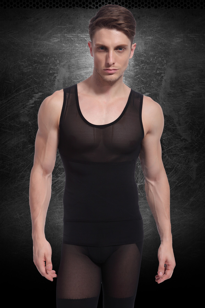 Image 5 - Sexy Men's slimming body shaper underwear fitness Vest body sculpting Clothing Strong mesh waist cinchers Shapers white black-in Shapers from Underwear & Sleepwears