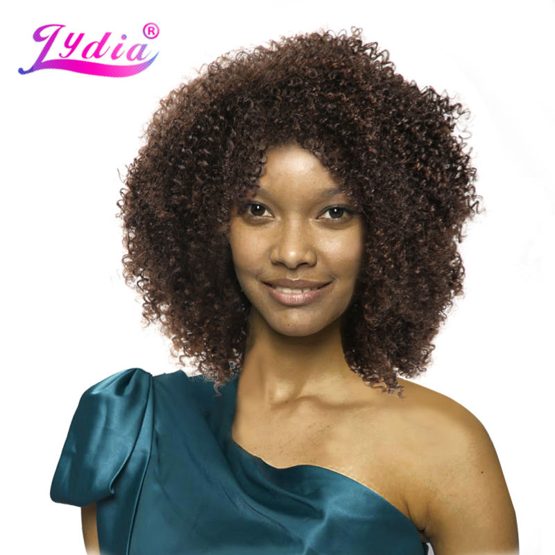 Lydia Afro Kinky Curly Synthetic Wigs Nature color Short Women Wigs Kanekalon Heat Resistant African American Nature Wigs
