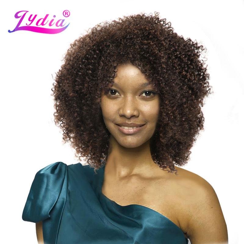 Lydia Afro Kinky Curly Synthetic Wigs Բնություն գույնը Կարճ կանայք Կեղծամներ Kanekalon Heերմակայուն աֆրոամերիկյան բնության wigs