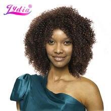 Lydia afro kinky encaracolado perucas sintéticas natureza cor curto perucas femininas kanekalon resistente ao calor africano americano natureza perucas
