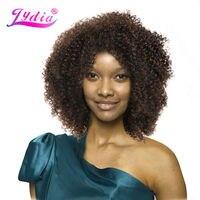 Lydia Afro Rizado Rizado color Natural Corto de Las Pelucas de Kanekalon a prueba de Calor Pelucas Sintéticas Afroamericano Natural Pelucas