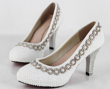 Hand-Made Bautiful Pearls Rhinestone wedding shoes for Bridal Shoes High heels Bridal Dress Shoes  Popular Formal Shoes