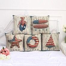 Funda de almohada decorativa Estados Unidos bandera langosta playa Vintage funda de almohada 17,5 pulgadas algodón Lino silla asiento tiro almohada cubierta S1026