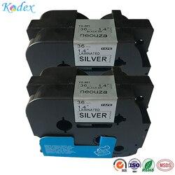 Kodex 2PK kompatybilny do Brother p touch laminowana TZe TZ taśma z etykietami 36mm x 8 m (TZe 961 czarny na srebrny) w Taśmy do drukarek od Komputer i biuro na