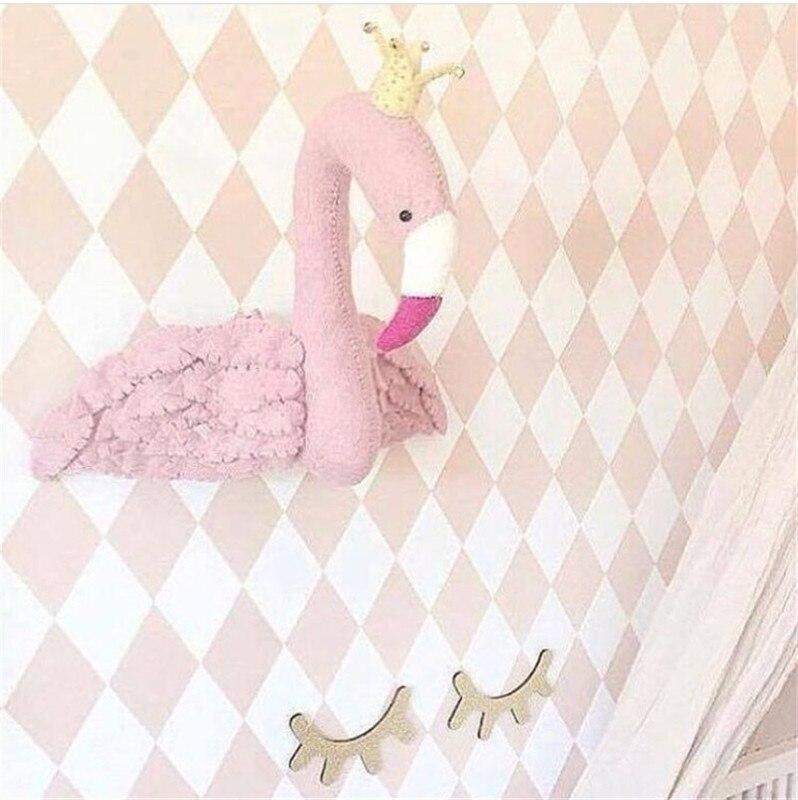 3d Flamants Roses Animaux Tête Mur Décorations Enfants Enfant Chambre de Bébé Pépinière Mur Tentures En Peluche Jouets Cadeau Photographie Props