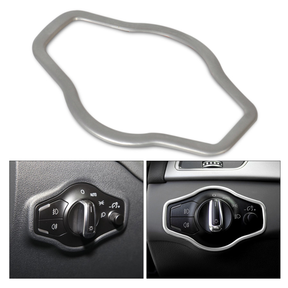 New Silver 1Pc Chrome Interior Headlight Switch Button Cover Trim for Audi A4 B8 Q5 A5 2008 2009 2010 2011 2012 2013 2014 2015