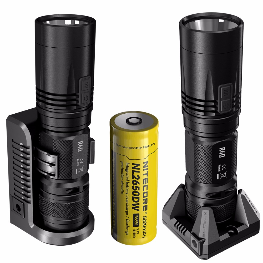 TOPSALE NITECORE R40 FlashLight 1000LM INDUCTIVE Charging with Rechargeable Battery Gear Outdoor Search Hand Lamp FREE SHIPPING