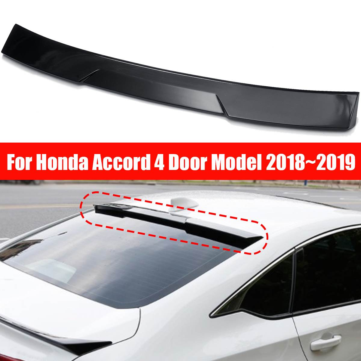 ABS Rear Window Visor Gloss Black Roof Spoiler for HONDA for ACCORD 10th Gen Sedan VIP 2018 2019 Car Exterior Parts