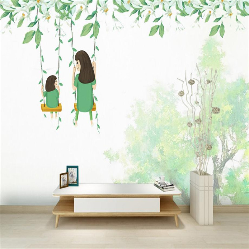 Us 22 55 45 Off Mom And Kid Wallpaper Wall Pictures Thanks Giving Baby Green White Kids Room Bedroom Desktop Murals In