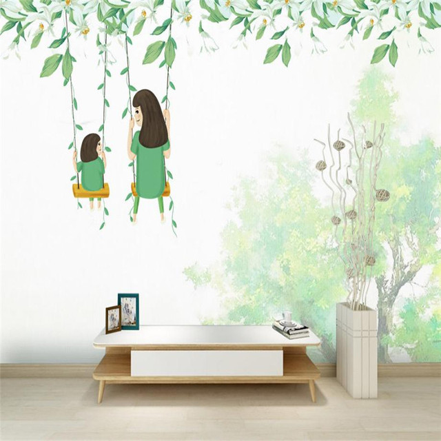 Mom And Kid Wallpaper Wall Pictures Thanks Giving Baby Wallpaper Green  White Wallpaper Kids Room Bedroom