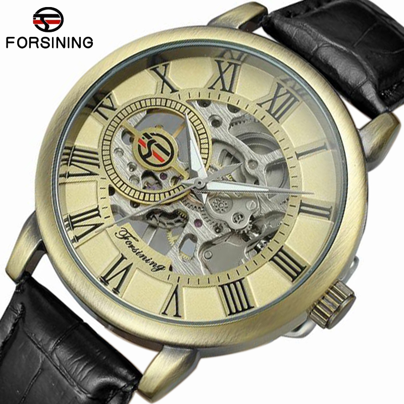 Forsining Men Watches Top Brand Luxury Mechanical Skeleton Watch Black Golden 3D Literal Design Retro Roman Number Black Dial муж трусы арт 12 0016 р 62 64