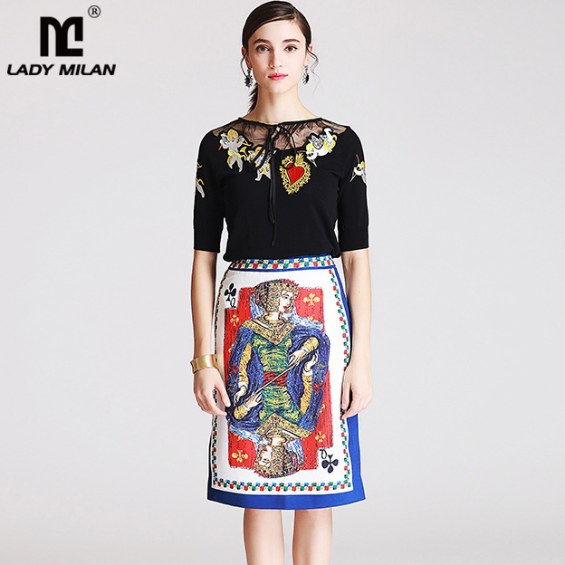 2018 Womens O Neck Short Sleeves Embroidery Appliques Blouse with Printed Dobby Pencil Skirt Fashion Two Piece Dresses Sets