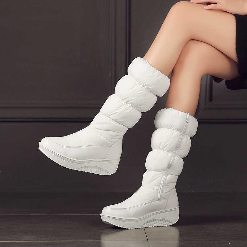 Kadın Kış Kar Botları PU deri uzun kış platformu düz çizmeler kadın diz Çizmeler üzerinde 2019 kadınlar için kalın kürk botları