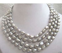 Wholesale >Charming 8 9mm south sea baroque gray pearl necklace 72 inches