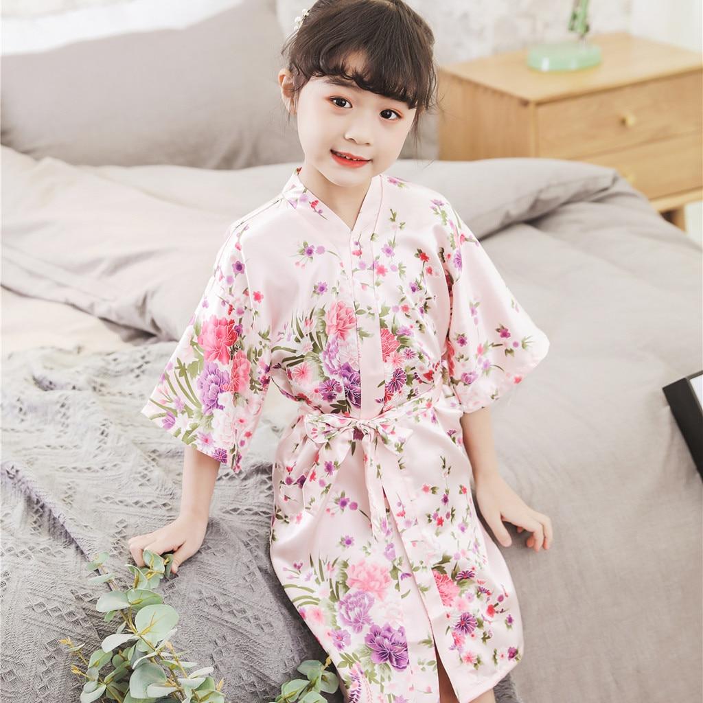 Toddler Baby Kid Girl Solid Silk Satin Kimono Robes Bathrobe Sleepwear Clothes W