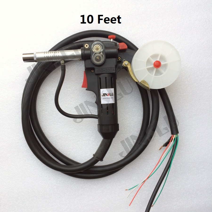 Rouleau denté en Nylon pour corps 10 pieds pistolet à bobine MIG chargeur à tirer en aluminium torche en acier sans connecteur JINSLU