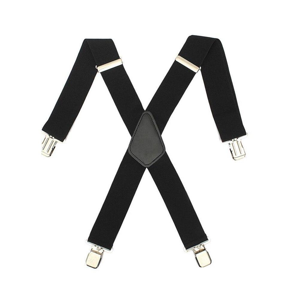 Hosenträger Mutig Saf-herren Frauen Schwarze Elastische Hosenträger Leder Hosenträger X-zurück Einstellbare Clip-on New