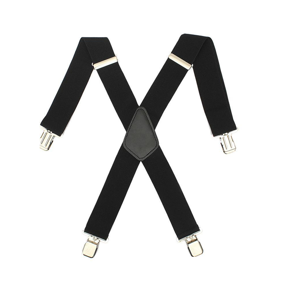 SAF-Mens Women Black Elastic Suspenders Leather Braces X-Back Adjustable Clip-on New