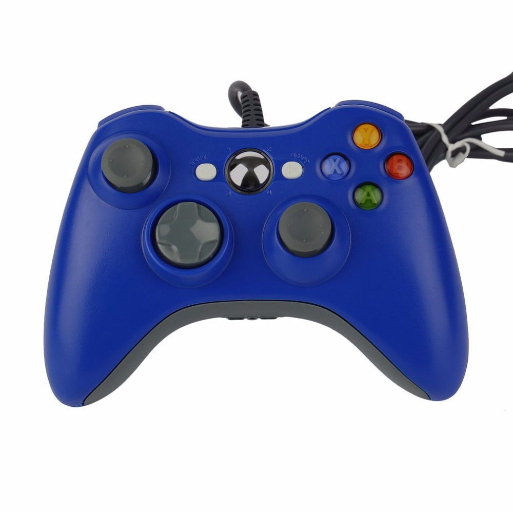 Wholesale Ergonomic Design USB Wired Joypad Gamepad Blue Controller For Microsoft For Xbox 360 PC For Windows 7