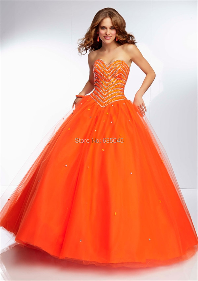 Ball gown prom dresses 2014 - Orange Ball Gown Prom Dresses 2014