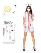 410213054c0ff Costumes d'halloween robe d'infirmière blanche Zombie Cosplay fantaisie  femmes infirmières Costumes fantasmagorique Costume d'éc.