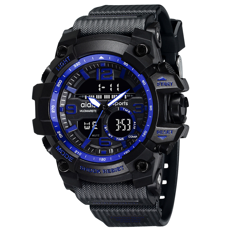 Gentle Swim Men Sports Watches Digital Double Time Chronograph Watch 50m Waterproof Week Display Alarm Japan Quartz Clock G Skmei 1270 Watches
