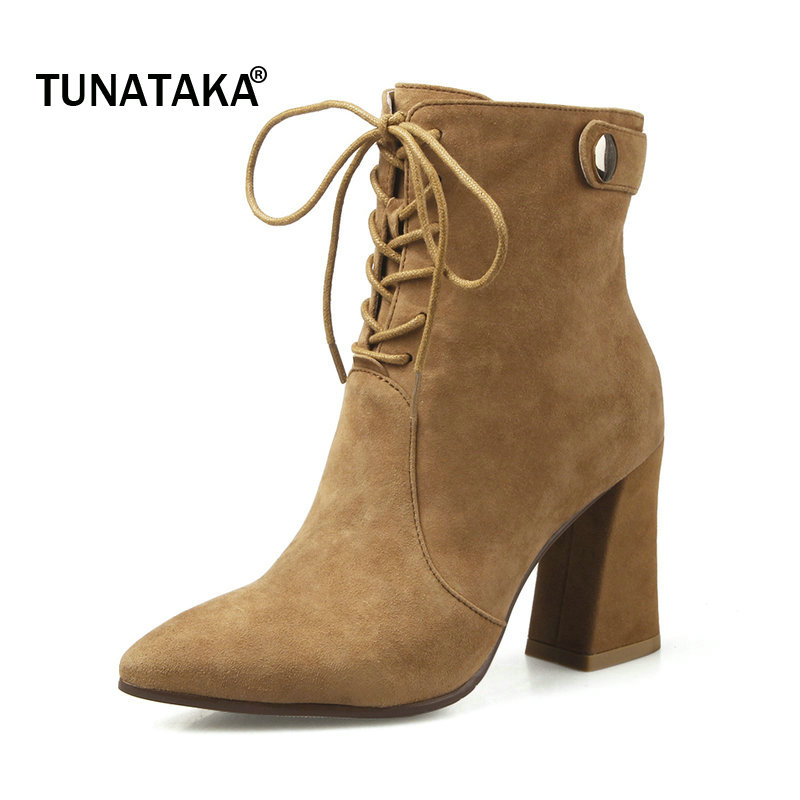 Woman Suede Pointed Toe Sqaure High Heel Lace Up Ankle Boots Fashion Side Zipper Dress Boots Black Yellow Gray