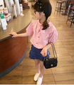 2016 Brand New Summer Girls Blouse Short-Sleeve Bow Striped Cotton Puff Sleeve Lovely Girls School Princess Blouses Hot Sale