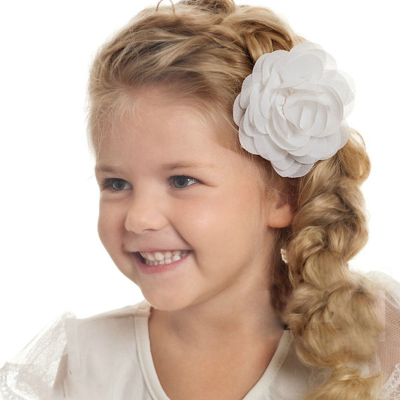 Cute Girl Hair Clip with Chiffon Rose Flower Baby Toddler Hairpins Headwear Children 2017 New Hair Accessories for Kids new hair claw for women girl elegant high quality hair clip party decorations holiday gift accessories