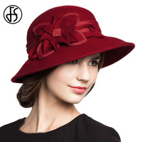Red Flowers Wool Felt Bowler Hat Chinese Style Cap Women For Wedding Church Hats