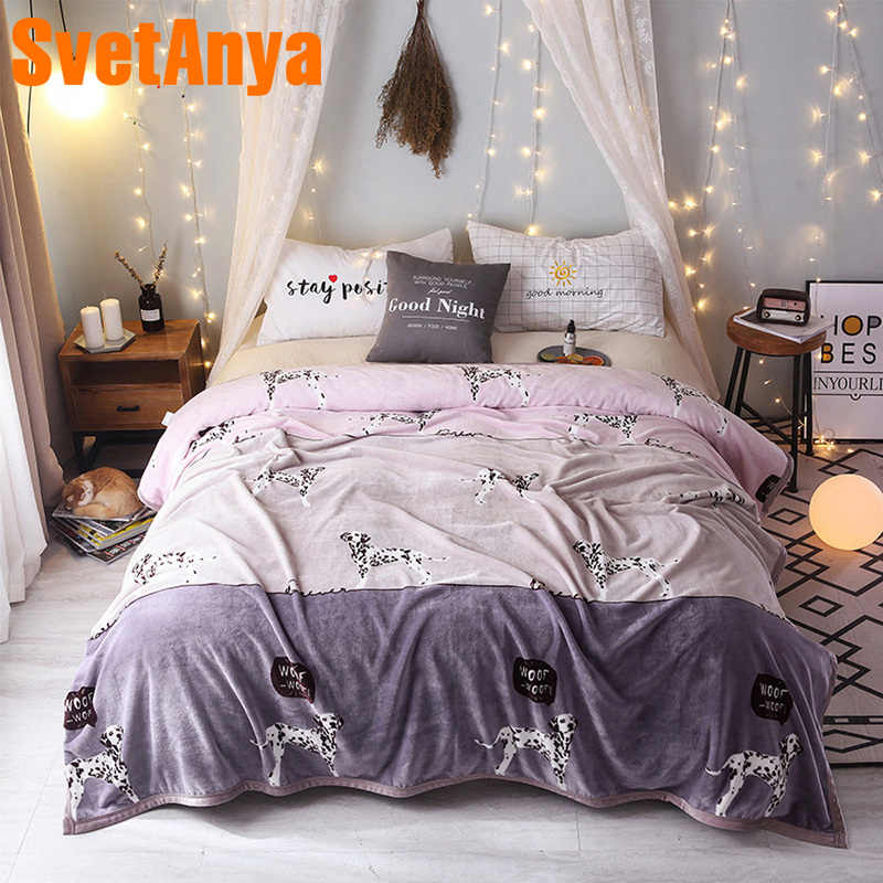 Svetanya Dalmatian Dog Blanket warm Sheet (flat Coin Thickness)
