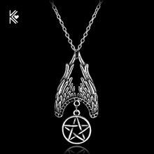 Nuevo Supernatural amuleto de estrella de cinco puntas ala Vintage cadena declaración collar barato mujeres y hombres colgante collar multicapa