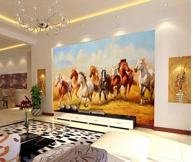Papier peint cheval personnalisé 3D, pour le salon chambre TV fond mur imperméable tissu de soie papier de parede