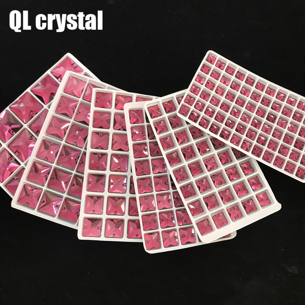 QL Crystal Middle red Square sew on Glass Crystal Rhinestone Flatback for wedding Dress DIY clothes shoes bags accessories