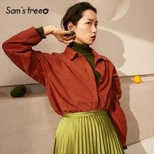 Blusa de invierno Samstree para mujer blusa de algodón puro de manga larga para mujer blusa de mujer Simple de Color sólido