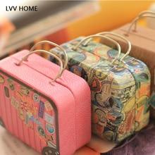 LVV HOME Retro bärbar Stud örhängen förvaringslåda / Creative Iron Mini Bagage Candy box hörlursbox